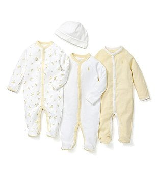 Ralph Lauren Childrenswear Newborn-6 Months Striped Footed Coveralls & Hat