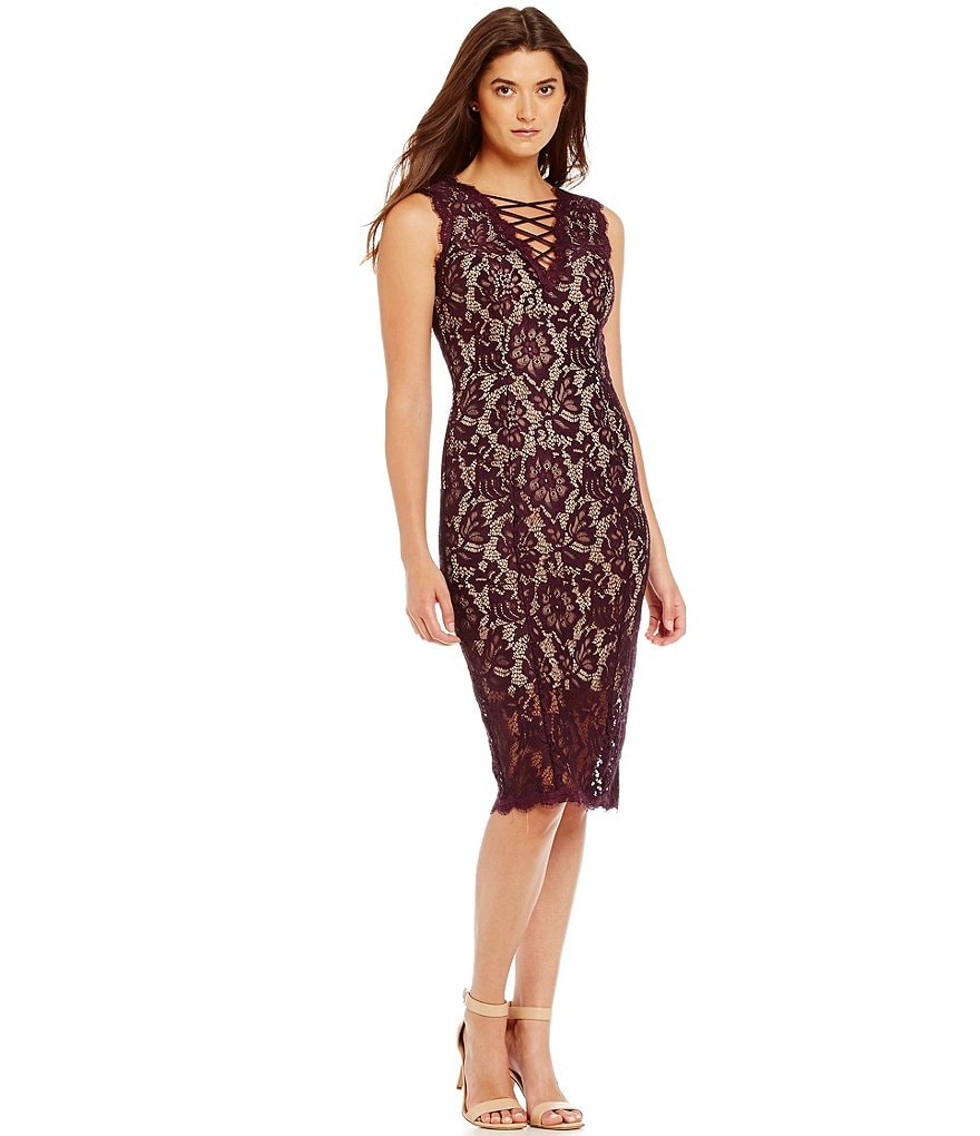 Betsy & Adam Lace Up Illusion Midi Dress