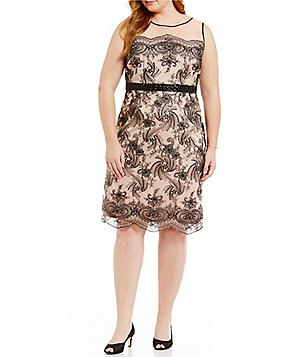 Brianna Plus Illusion Embroidered Sheath Dress