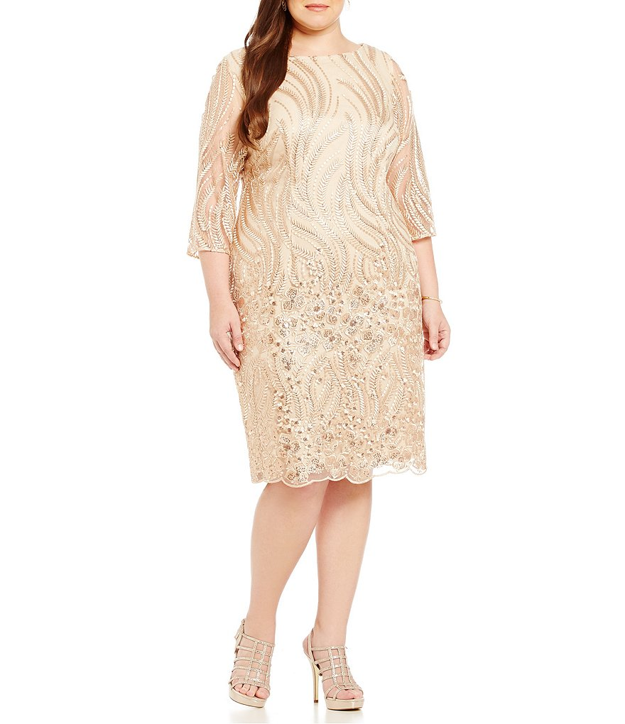 Brianna Plus Embroidered Sequin Lace Dress