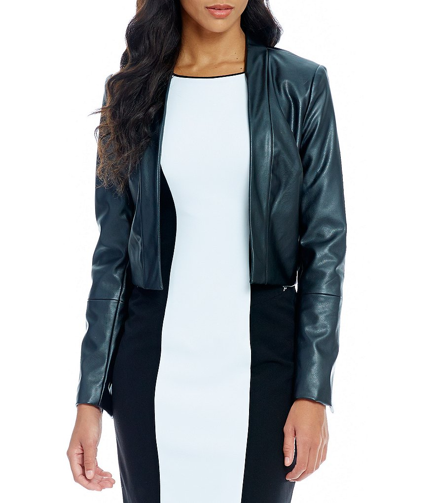 Calvin Klein Long Sleeve Faux Leather Jacket