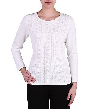 Allison Daley Wide Roll Neck Cable Front Long Sleeve Pullover