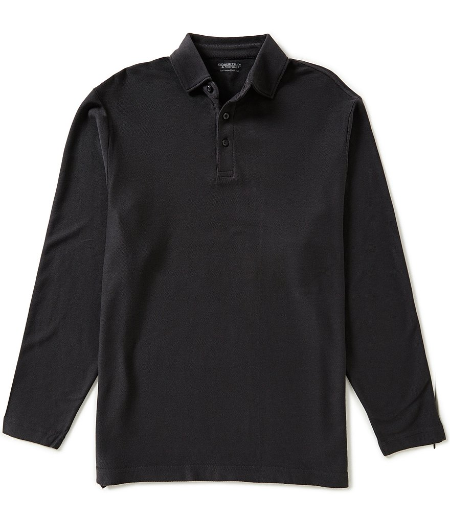 Roundtree & Yorke Silky Finish Long-Sleeve Twill Polo