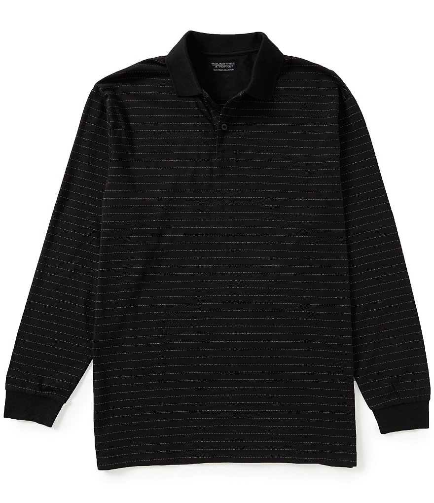 Roundtree & Yorke Silky Finish Long Sleeve Horizontal-Stripe Jacquard Polo