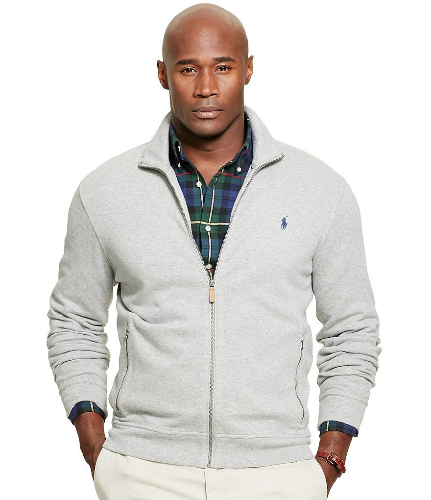 Polo Ralph Lauren Big & Tall Ribbed Cotton Mockneck Full-Zip Jacket