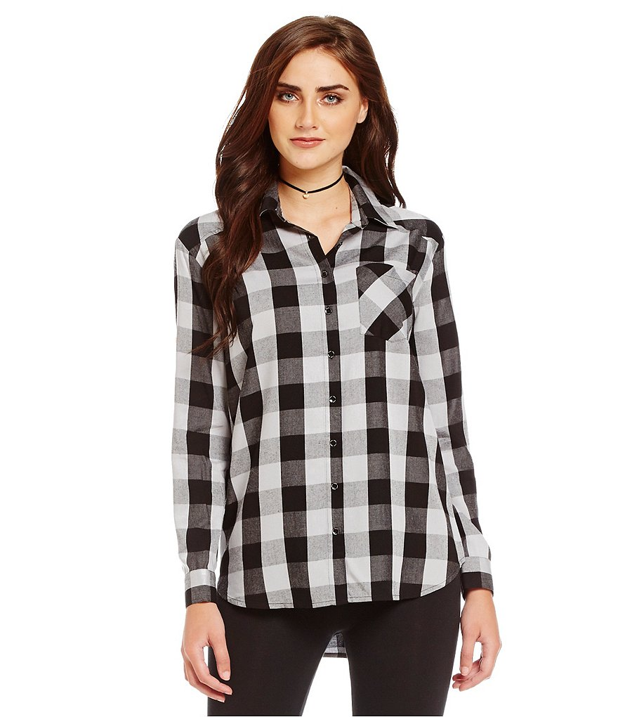 kensie Long Sleeve Buffalo Plaid Button-Front Blouse