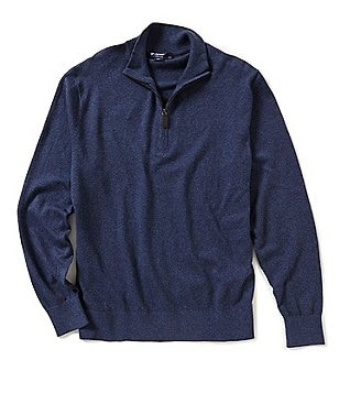 Cremieux Quarter-Zip Mock Neck Elbow-Patch Pullover