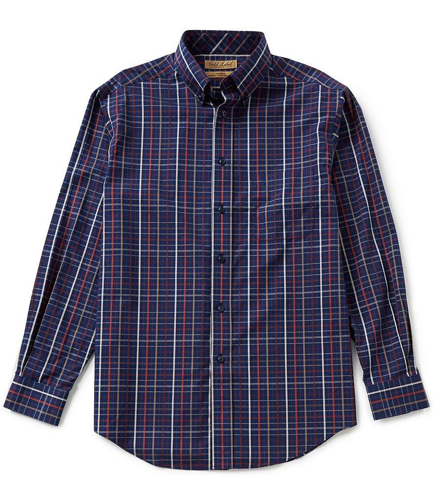 Gold Label Roundtree & Yorke Plaid Non-Iron Dobby Perfect Performance Sportshirt