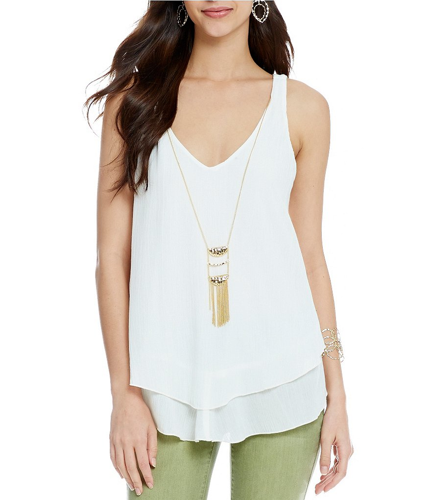 Living Doll Double-Layer Inverted-Hem Necklace Tank