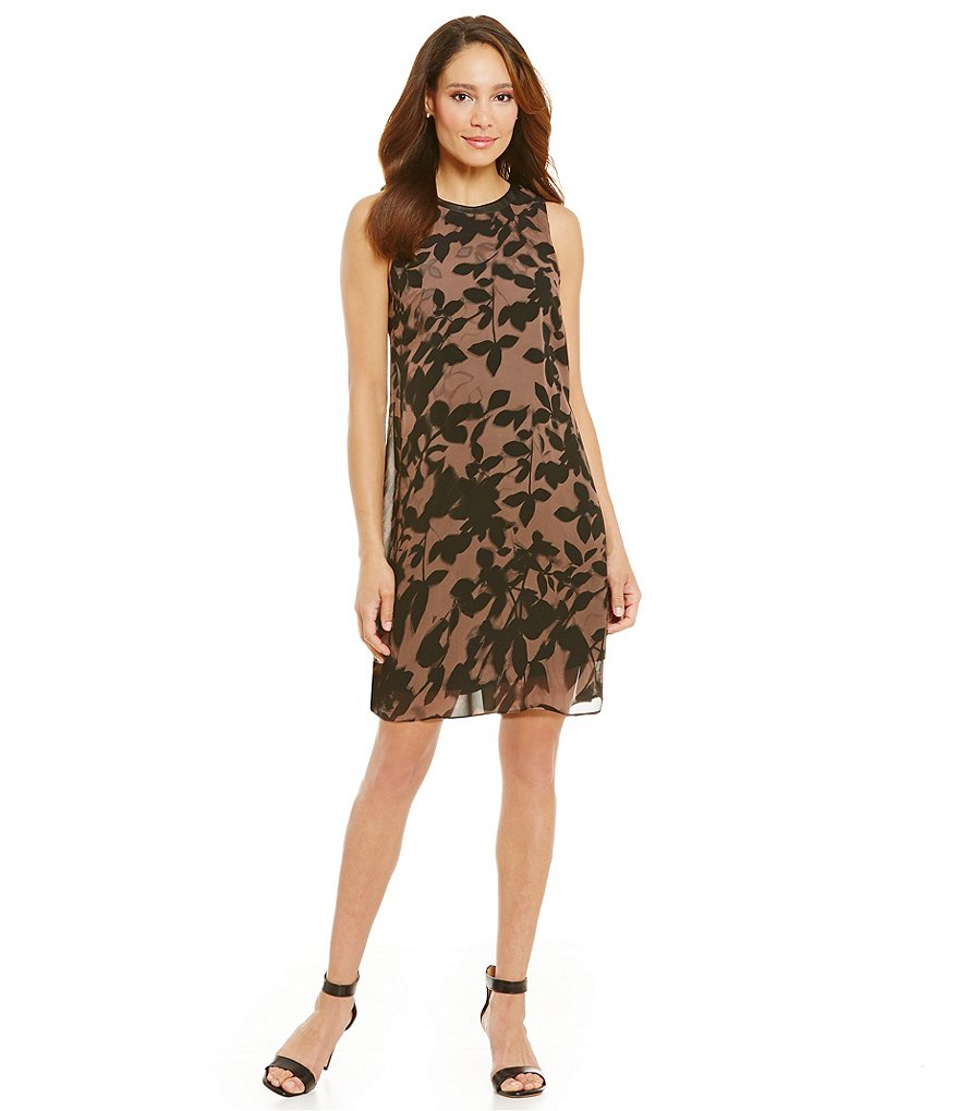 S.L. Fashions Leather Trim Printed Trapeze Dress