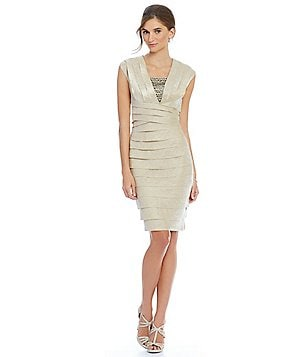 London Times Jewel-Inset Shutter Cap Sleeve Sheath Dress