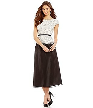 Alex Evenings Belted Mock 2-Piece Tea Length Gown