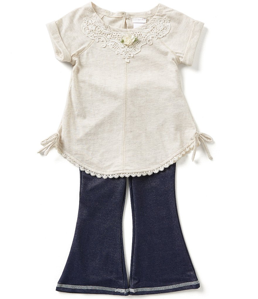 Sweet Heart Rose Little Girls 2T-4T Floral Applique Top and Bottom Set