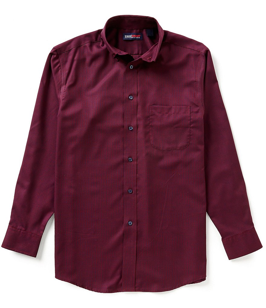 Roundtree & Yorke TravelSmart Long-Sleeve Checked Sportshirt