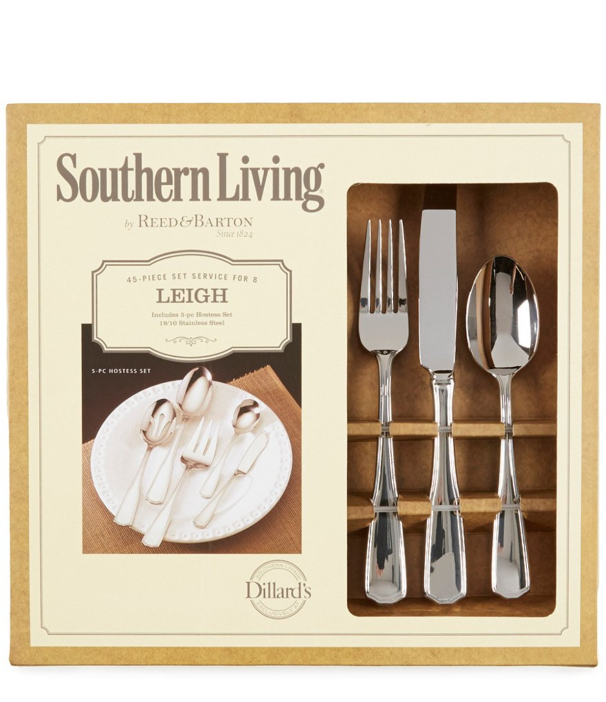 Southern Living Leigh 45-Piece Stainless Steel Flatware Set