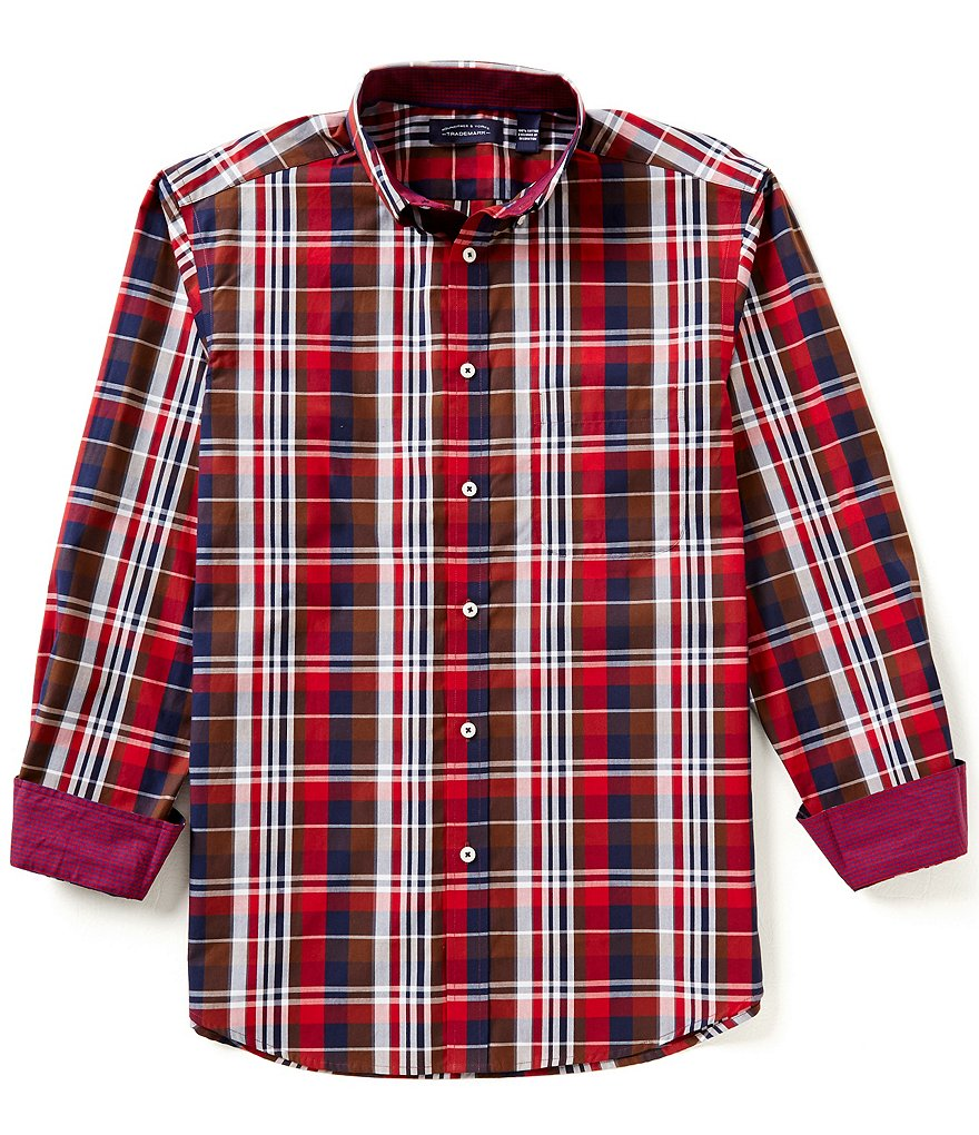 Roundtree & Yorke Trademark Long Sleeve Yarn Dyed Plaid Poplin Button-Down Collar Sportshirt