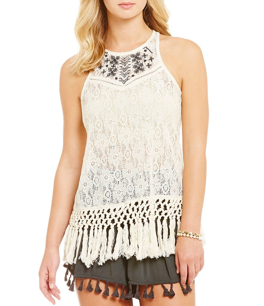Coco + Jaimeson Embroidered Yoke Patterned Lace Fringe Hem Tank Top