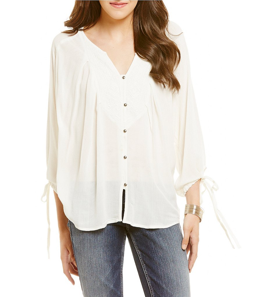 Roxy Sunset Smooch Embroidered Peasant Top