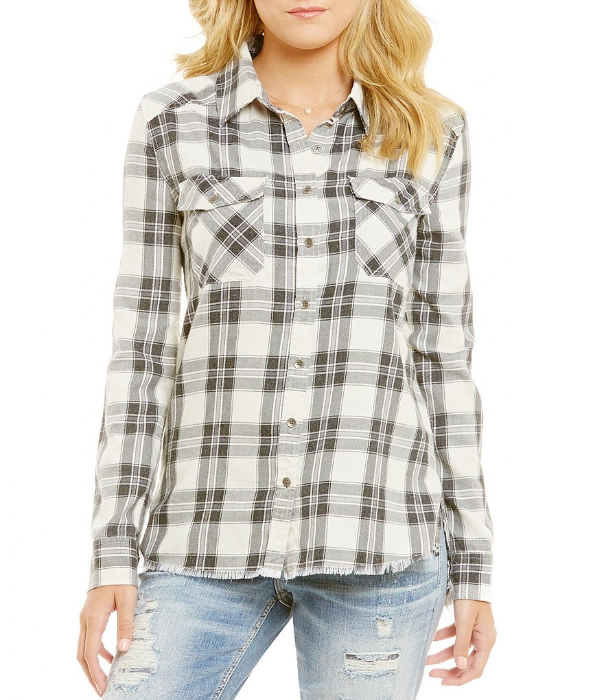 Billabong Plaid Frayed Hem Top