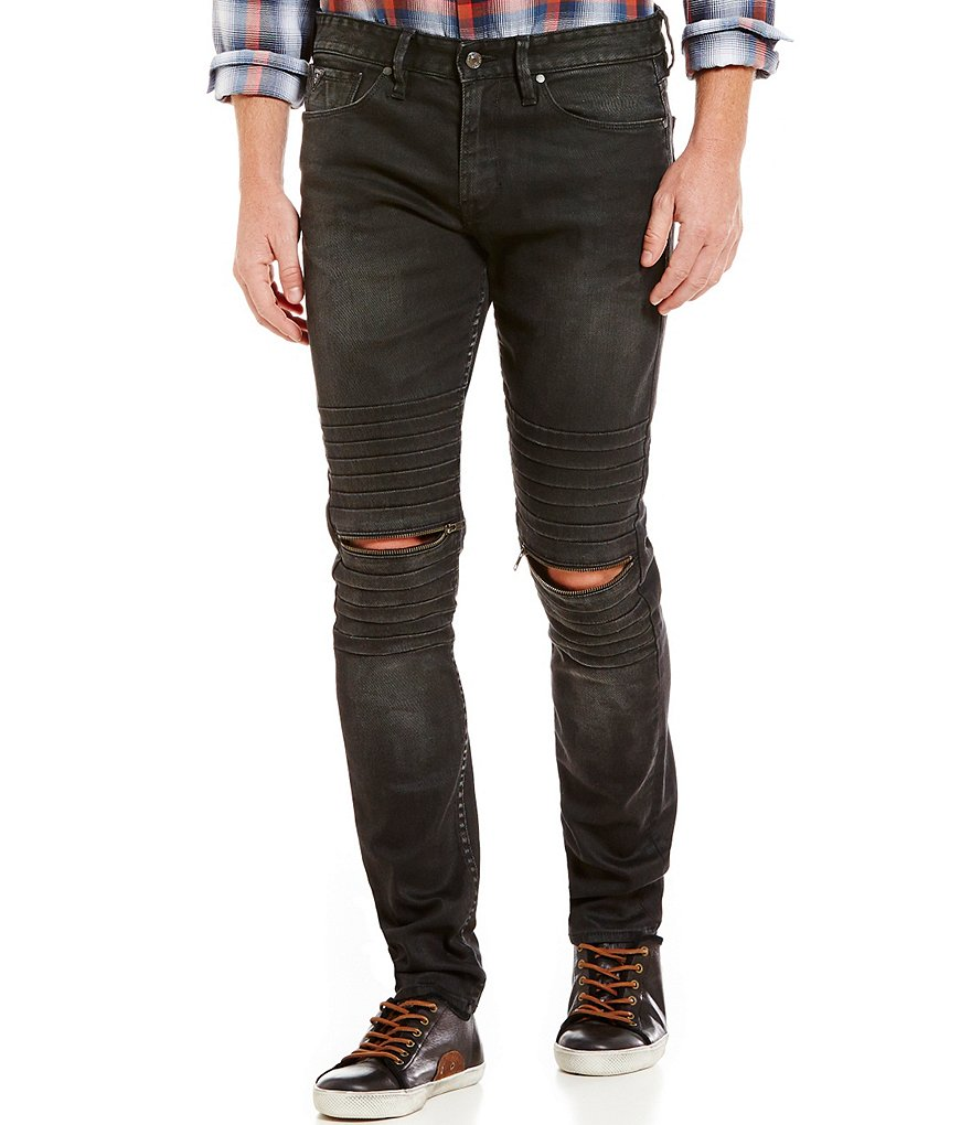 Guess Slim Tapered Fit Knee Slit Zip Moto Jeans