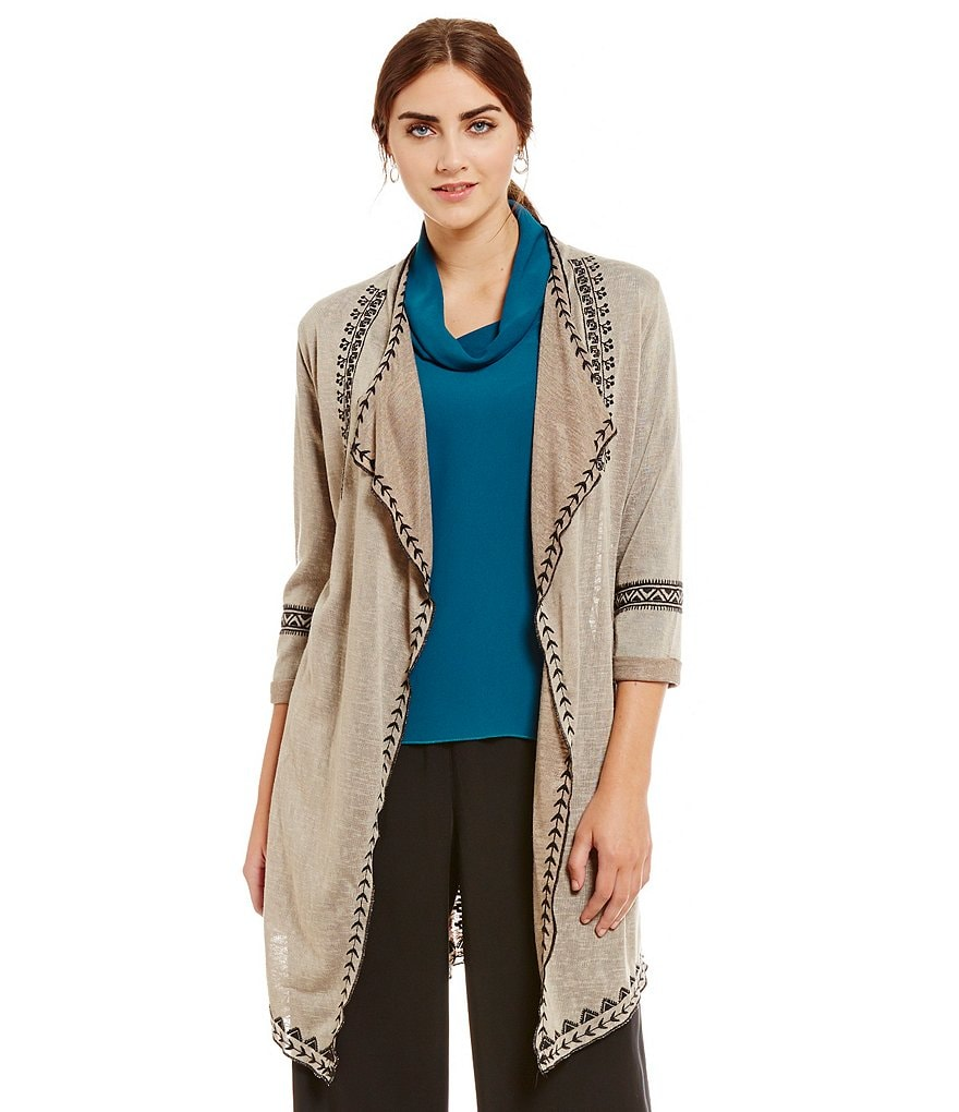John Mark Embroidered Long Sleeve Duster