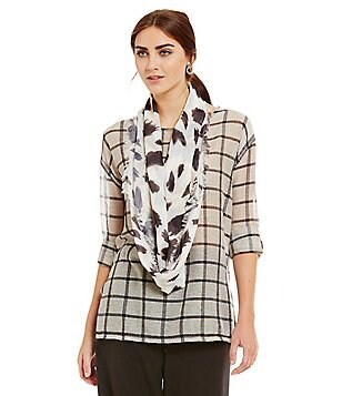 John Mark Window Pane Print Roll-Tab Sleeve with Scarf Tunic