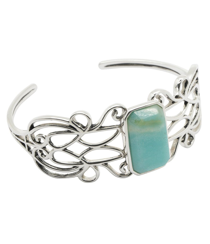 Calvary Sterling Silver and Amazonite Cuff Bracelet