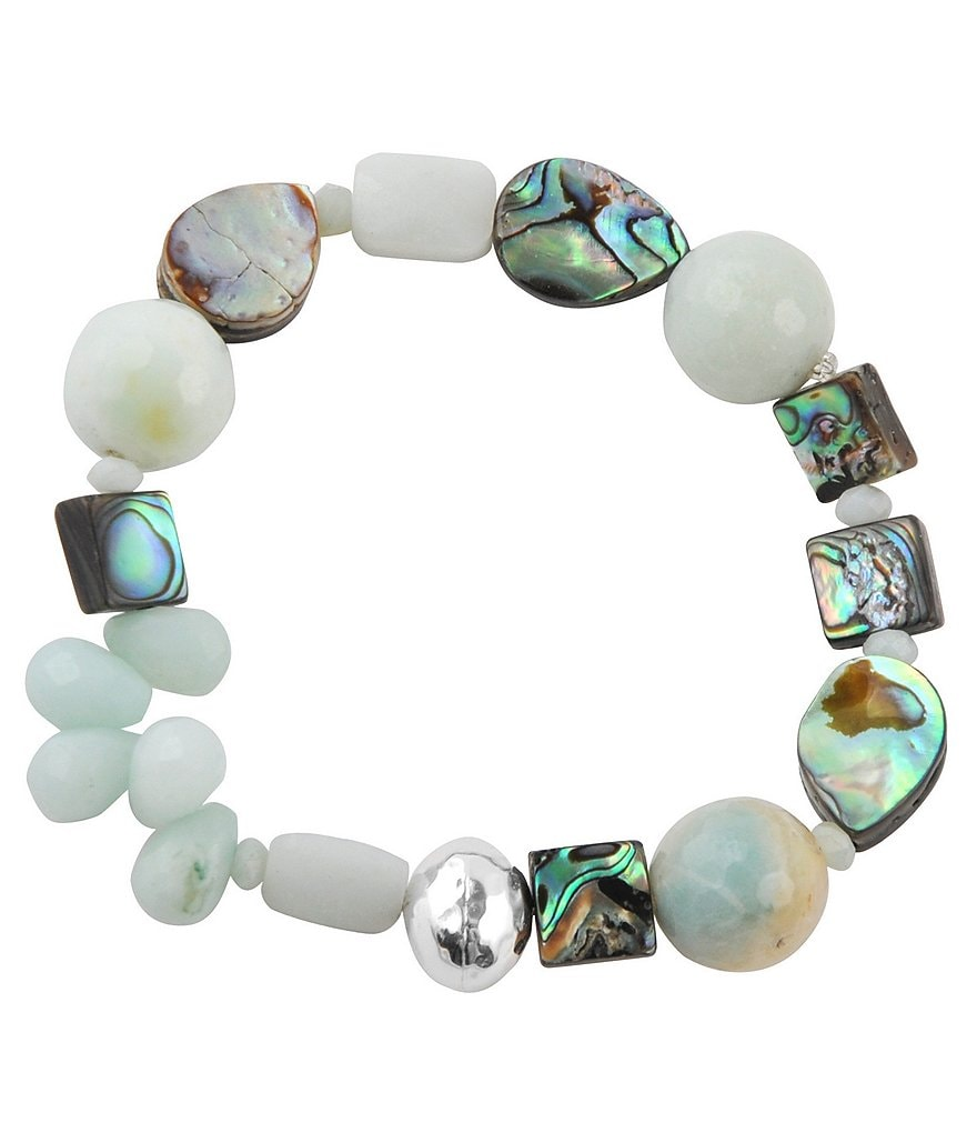 Calvary Abalone, Sterling Silver and Amazonite Stone Stretch Bracelet