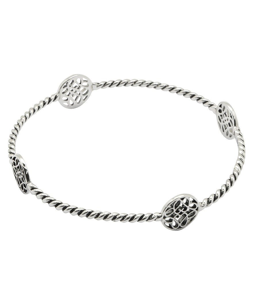 Calvary Sterling Silver J Scroll Bangle Bracelet