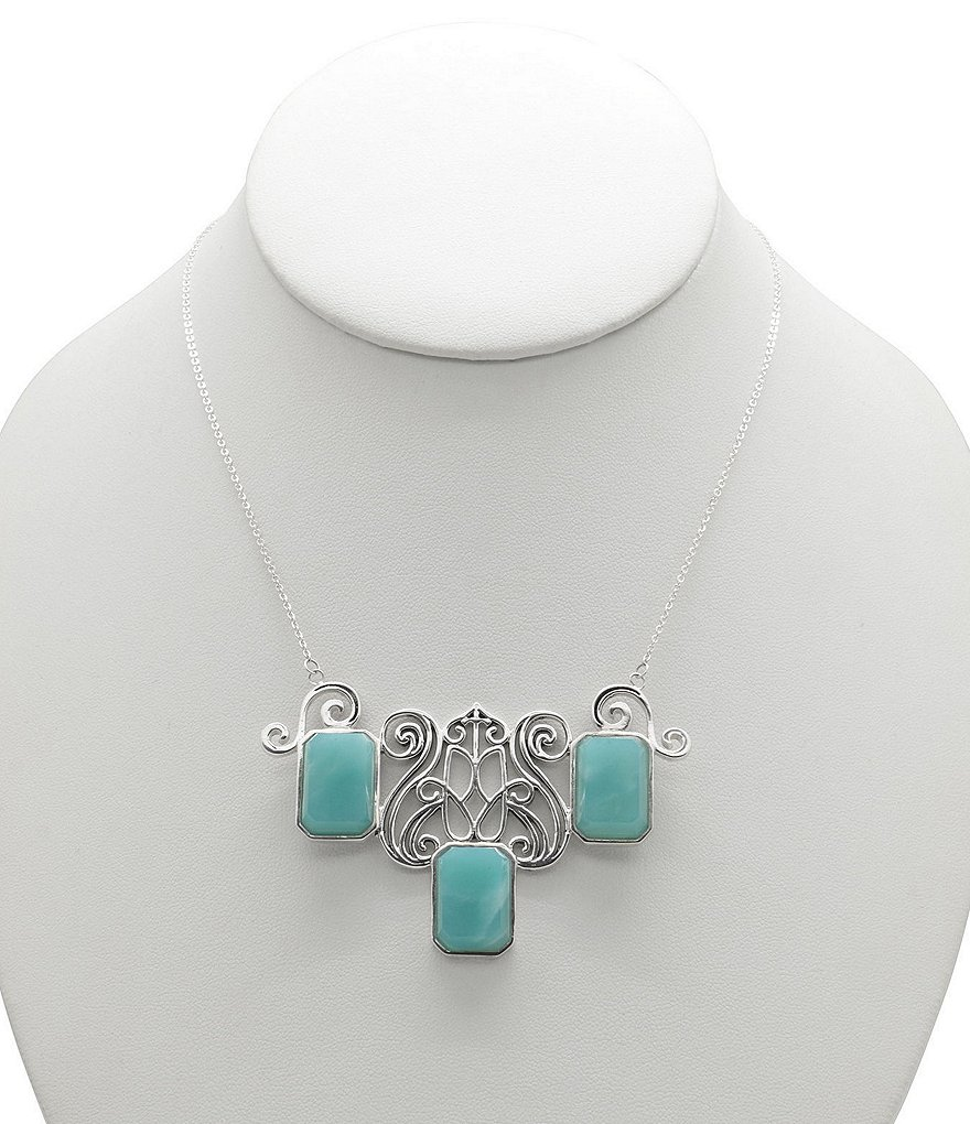 Calvary Sterling Silver and Amazonite Stone Statement Necklace