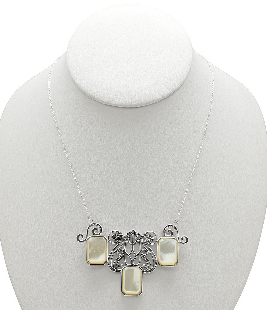 Calvary Mother-of-Pearl Sterling Silver Statement Necklace