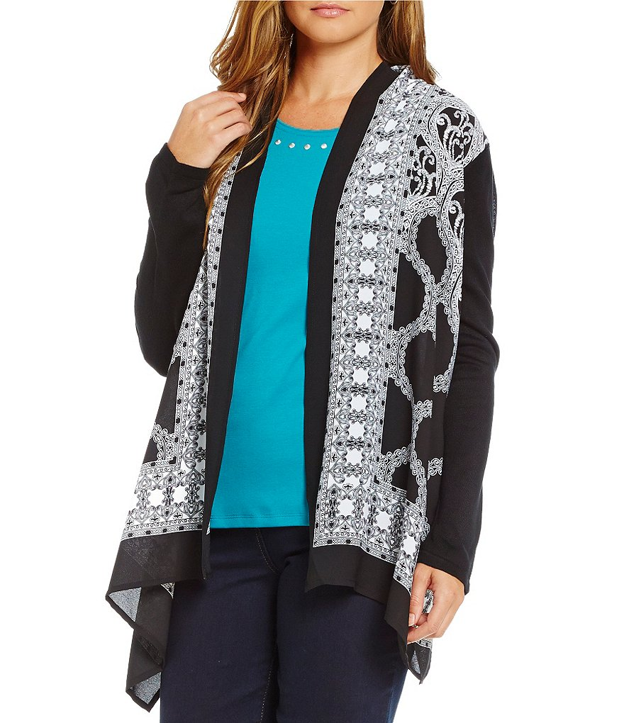 Allison Daley Petite Long Sleeve Cascade Open Front Print Cardigan