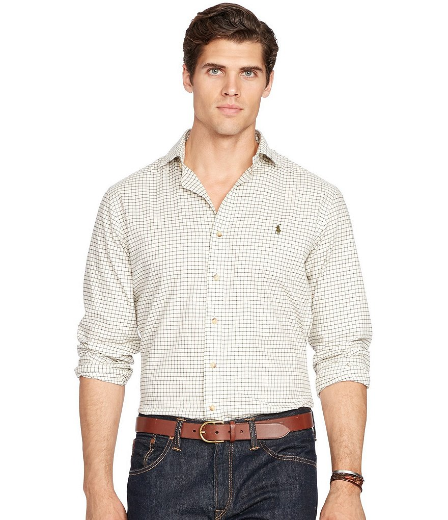 Polo Ralph Lauren Big & Tall Checked Twill Long-Sleeve Woven Shirt