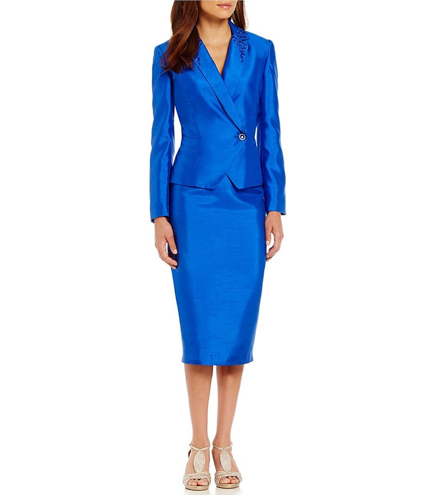 John Meyer Shantung Side Button Skirt Suit