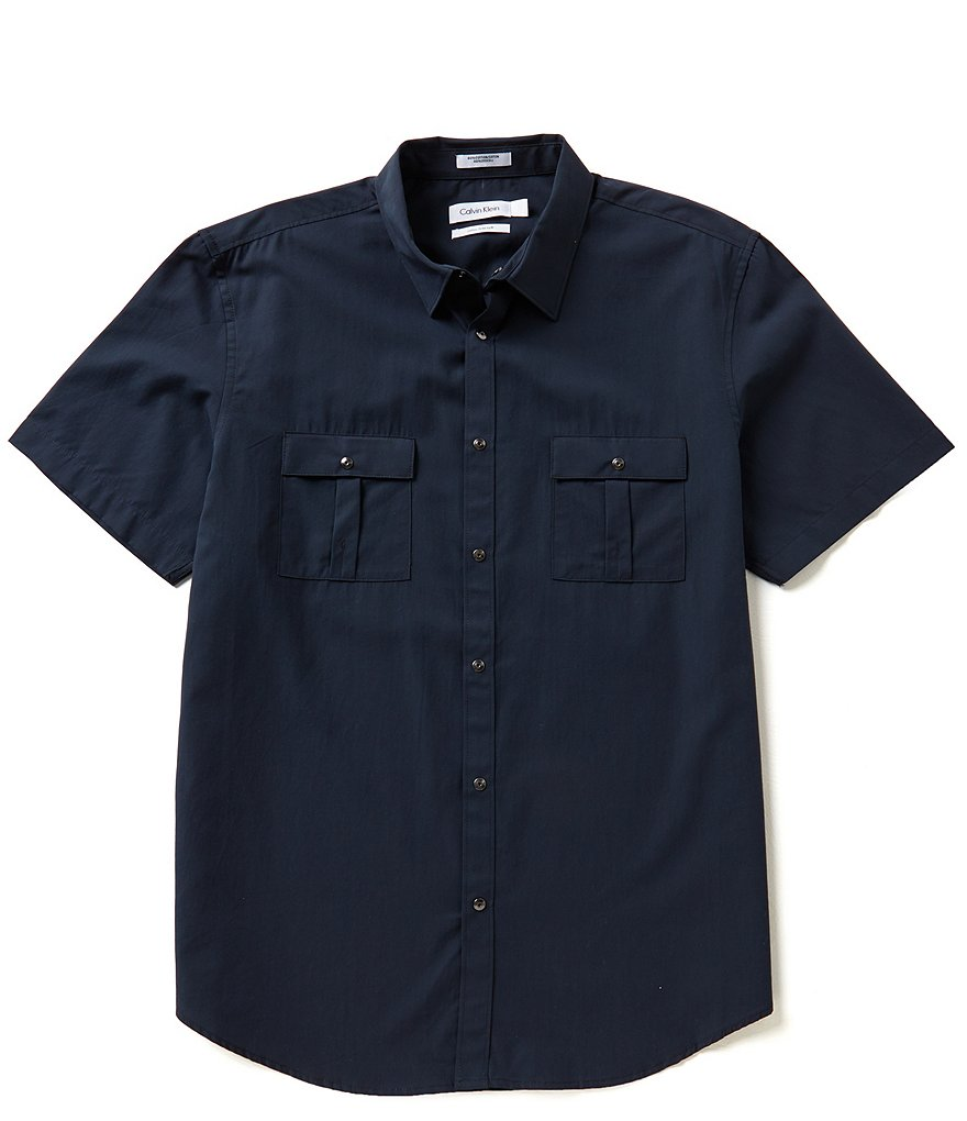 Calvin Klein Short-Sleeve Cotton Solid Tencel Woven Shirt