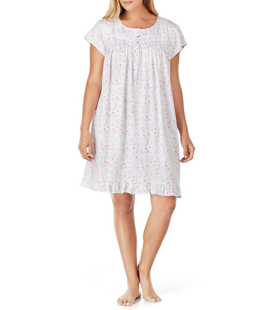 Eileen West Plus Floral Jersey Nightgown