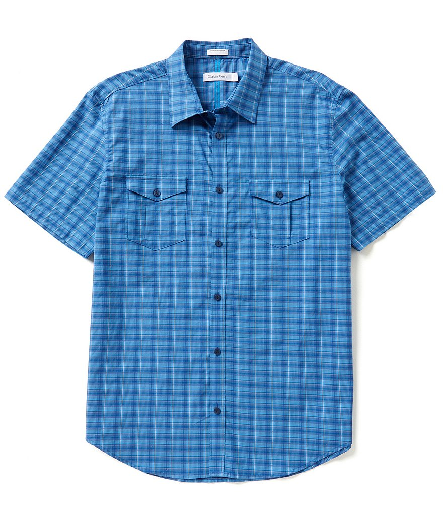 Calvin Klein Short-Sleeve Heather Mini-Check Woven Shirt