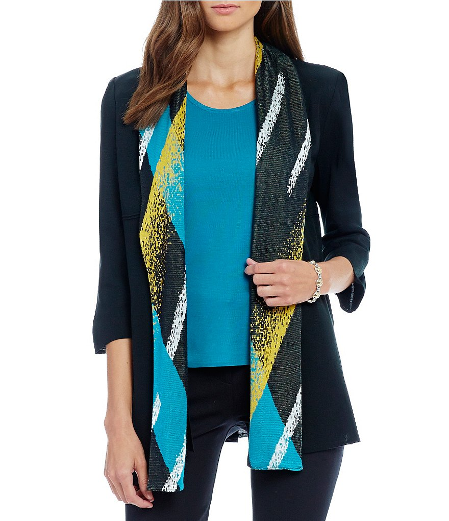 Ming Wang Scarf Trimmed Long Jacket