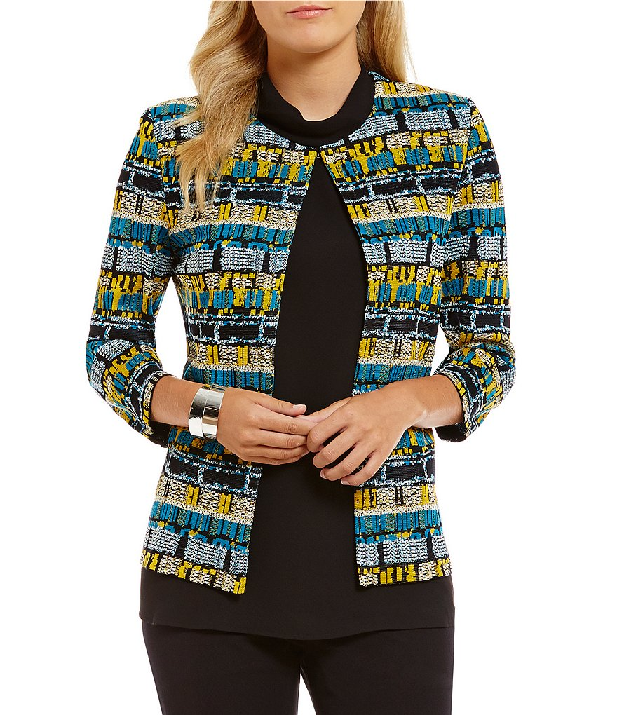 Ming Wang Round Neck Print Jacket
