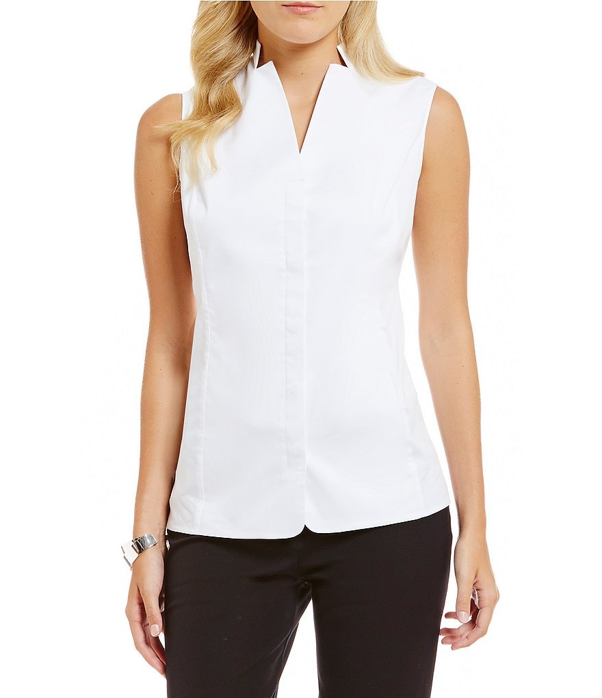 Ming Wang Sleevless Button Front Blouse