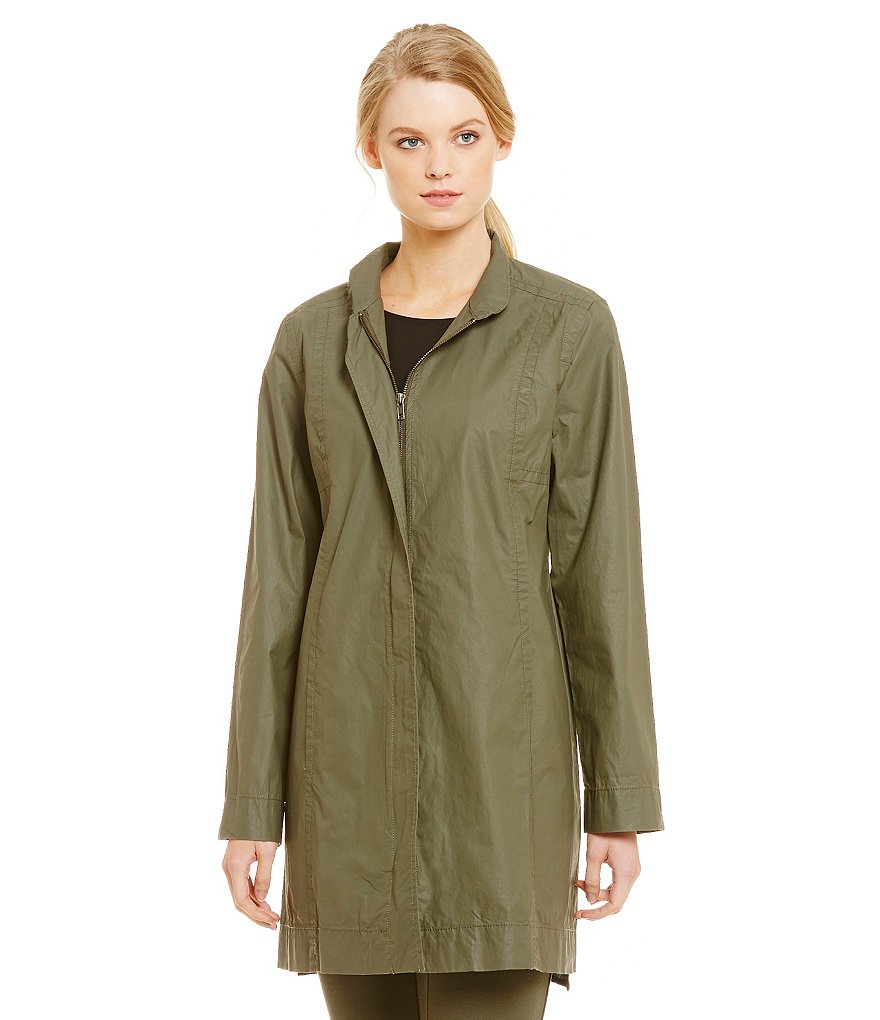 Eileen Fisher Long Sleeve Stand Collar Coat