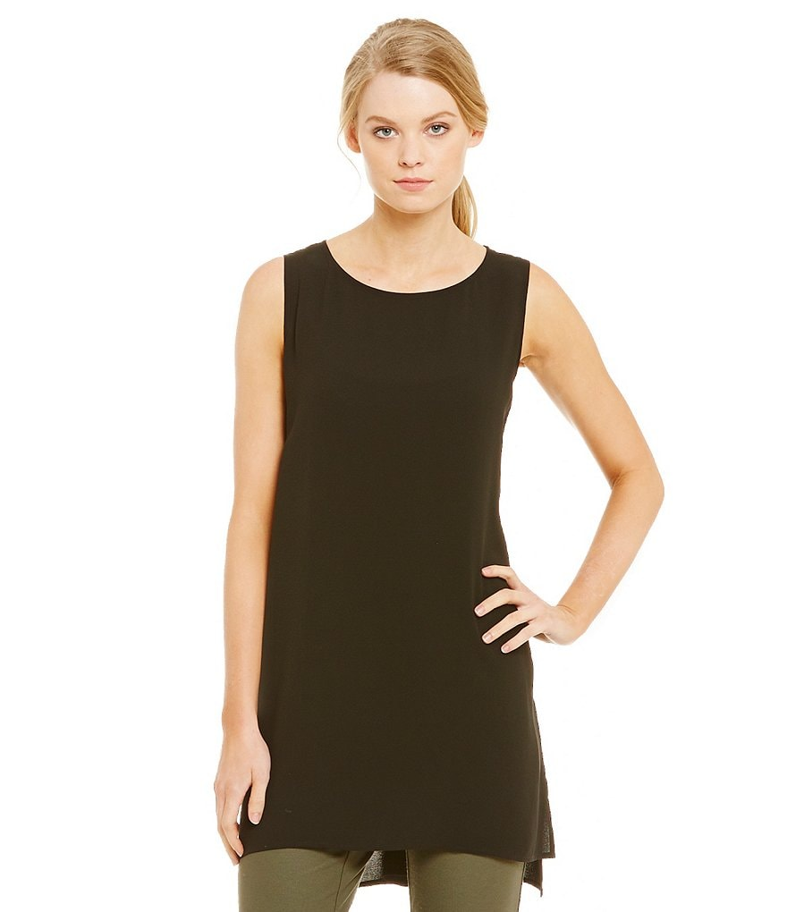 Eileen Fisher Silk Crepe Long Sleeveless Tunic
