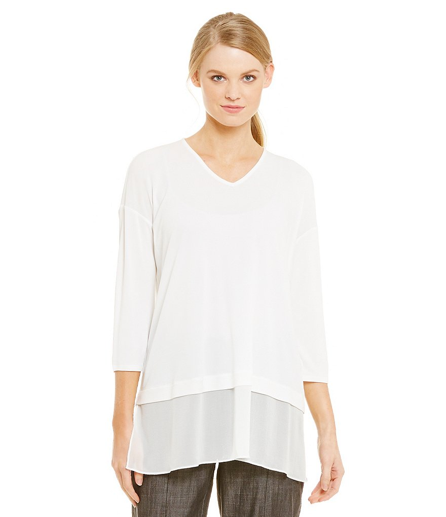 Eileen Fisher Silk Jersey V-Neck 3/4 Sleeve Sheer Hem Top