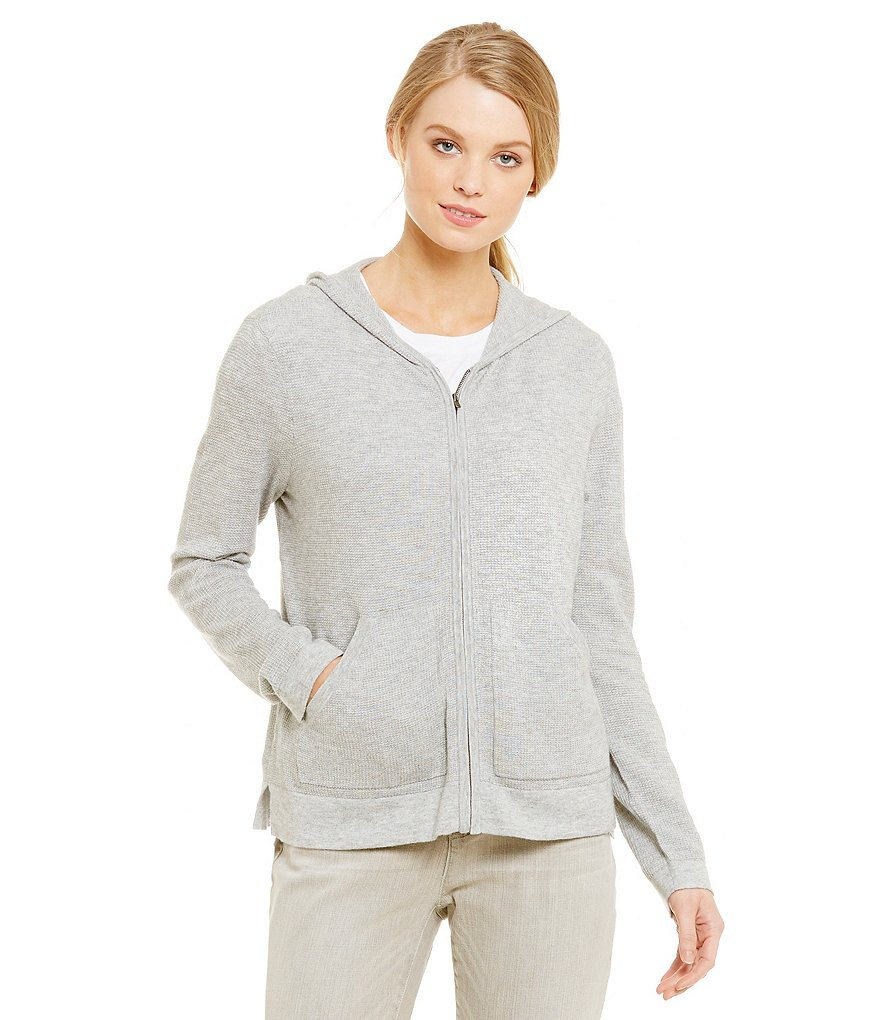 Eileen Fisher Waffle Hooded Boxy Cardigan
