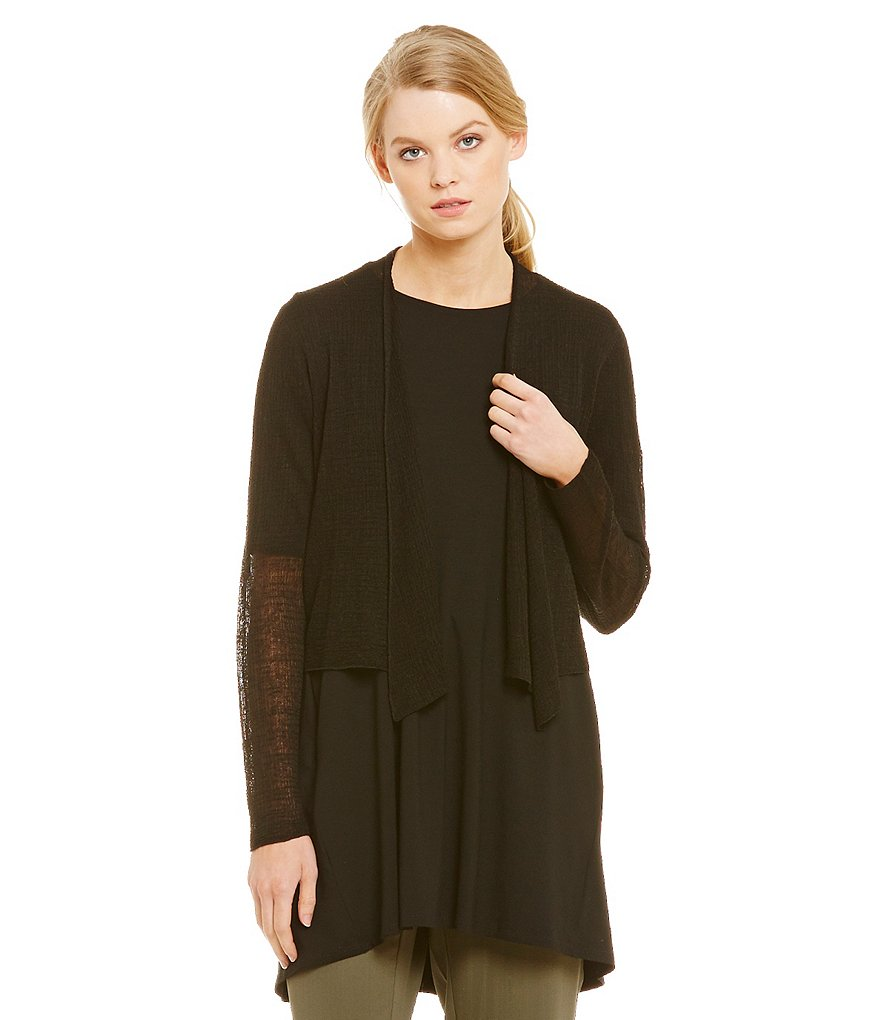 Eileen Fisher Sheer Hemp Grid Cropped Cardigan