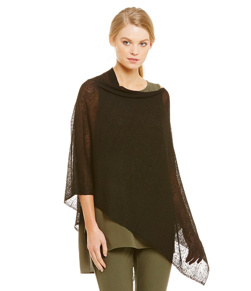 Eileen Fisher Sheer Hemp Grid Poncho