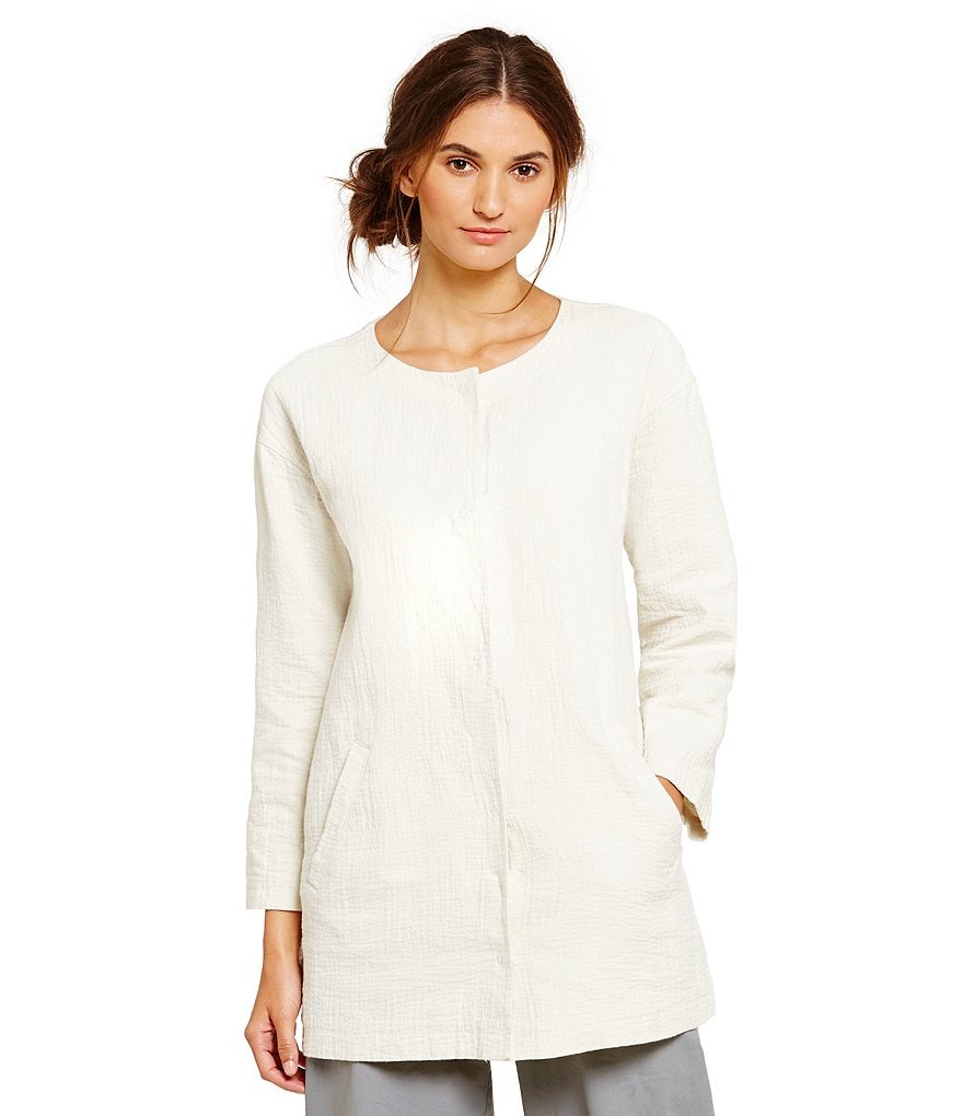 Eileen Fisher Round Neck Bracelet Long Jacket