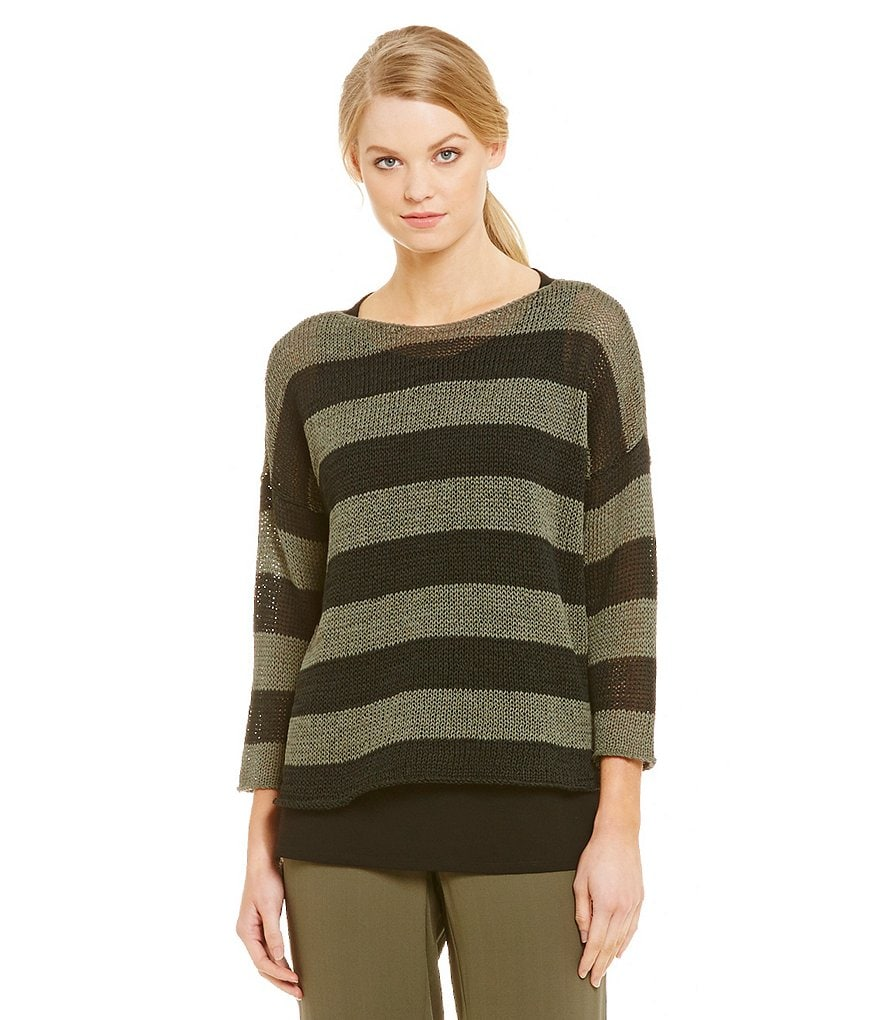 Eileen Fisher Striped Bateau Neck Top