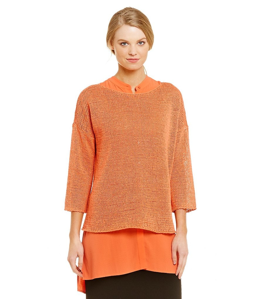 Eileen Fisher Cotton Tape Bateau Neck Top