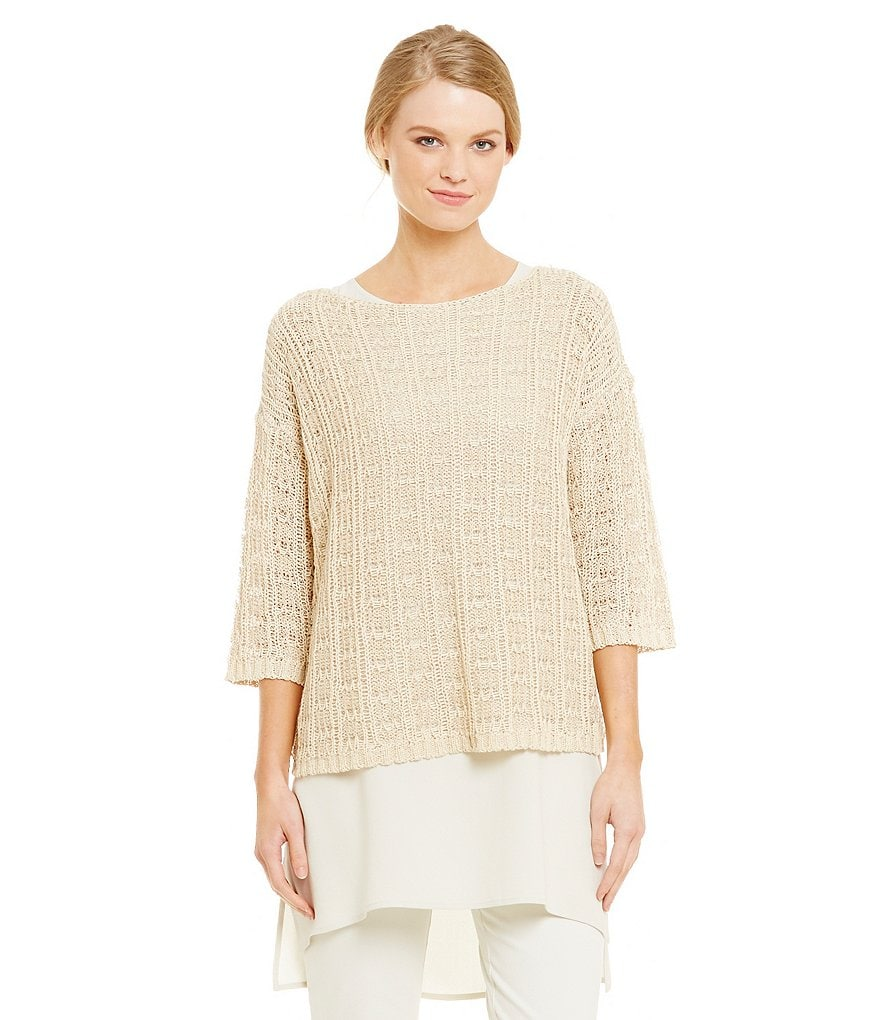 Eileen Fisher Cotton Tape Jacquard Bateau Neck Top